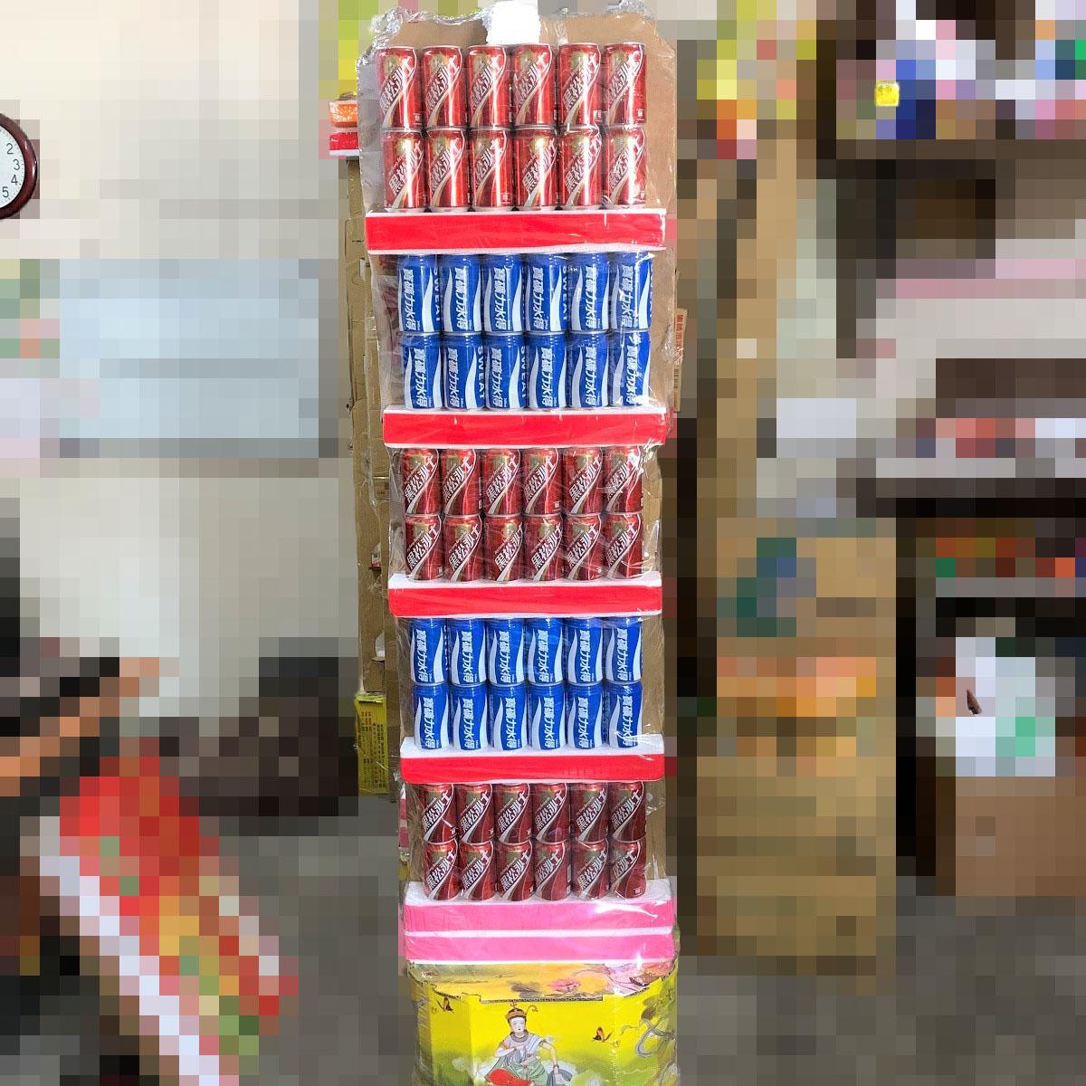 喪禮用知名廠牌純飲品罐頭塔