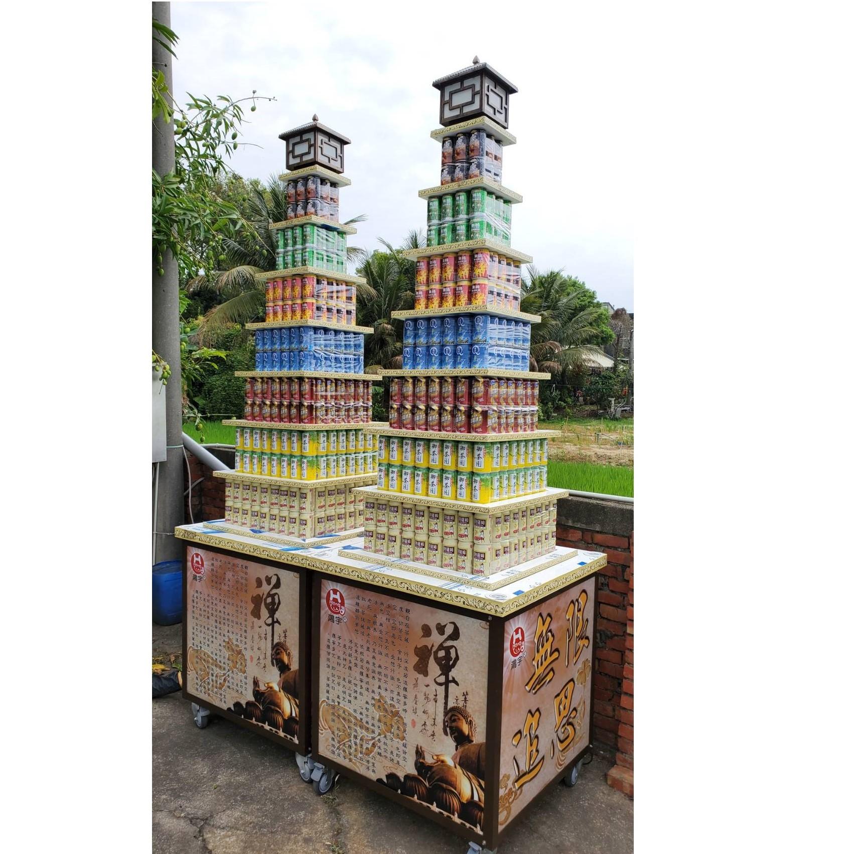 7層普通飲料560罐燈光塔